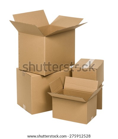 Stack of cardboard boxes isolated on white background - stock photo