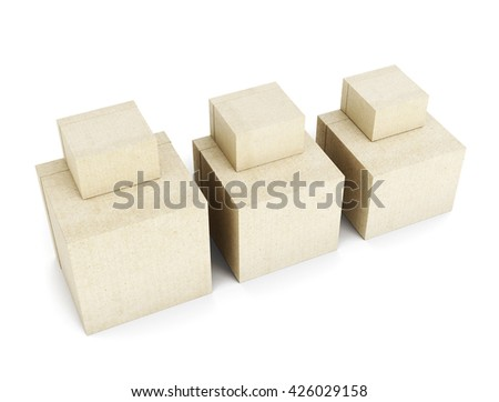Stack of cardboard boxes isolated on white background. Square boxes on each other. Different size. 3d render image