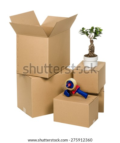 Stack of cardboard boxes isolated on white background with flower and tape
