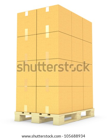 Stack of cardboard boxes on a pallet isolated on white background - stock photo