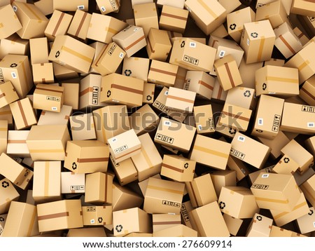 Stack of cardboard delivery boxes or parcels. Warehouse concept background. 3d - stock photo