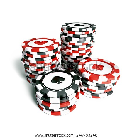 Stack of casino chips - stock photo