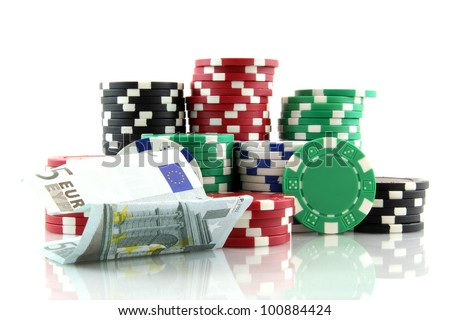 stack of casino gambling chips with 5 euro banknote on white background
