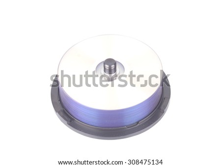 stack of cd roms. CD & DVD disk on white background - stock photo