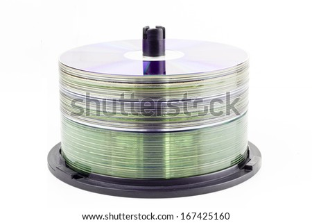 Stack of CD roms on a white background - stock photo