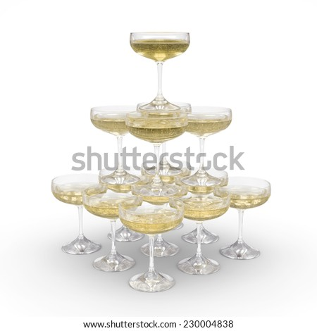 Stack of champagne glasses with clipping path - stock photo
