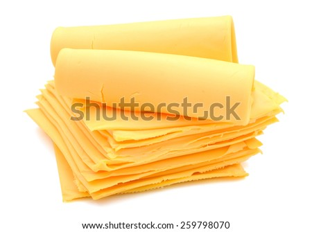 stack of cheese slices isolated on white