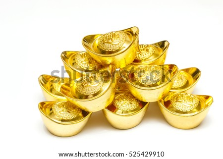 Stack of Chinese Gold Ingots on white Background.