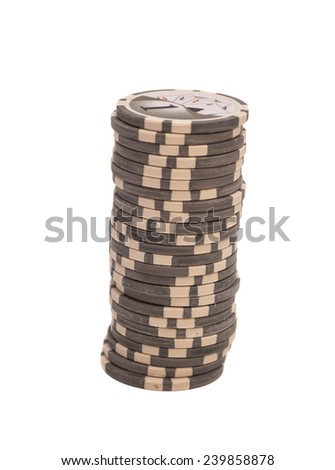 Stack of chips isolated on white background  - stock photo