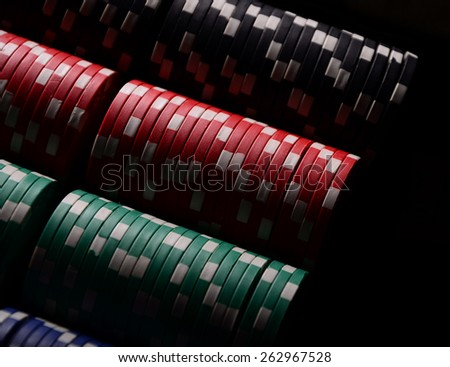 Stack of chips. Poker. Blackjack. Roulette. - stock photo