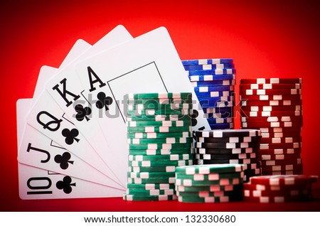 Stack of chips with royal flash - stock photo