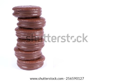 stack of choco pie chocolate coated snacks isolated on white
