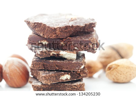 stack of chocolate and isolated on white