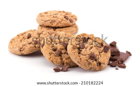 Stack of chocolate chip cookies and cracked chocolate parts isolated on white background - stock photo