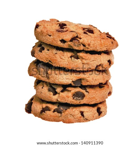 Stack of Chocolate Chip Cookies Isolated on a White Background - stock photo