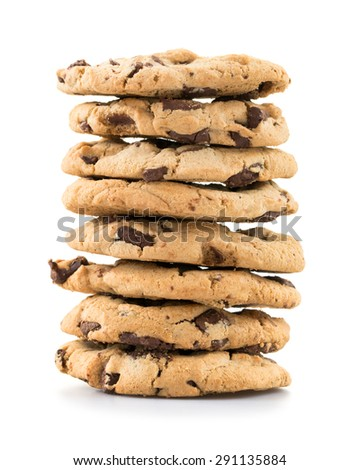 Stack of chocolate chip cookies isolated on white background. - stock photo