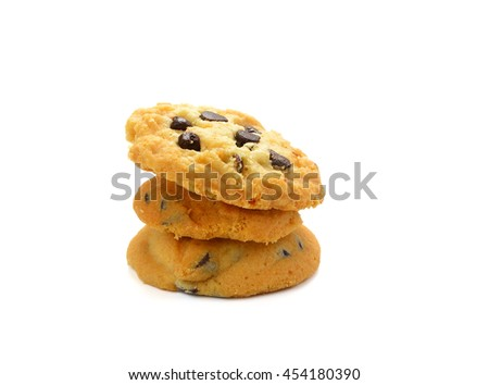 Stack of chocolate chip cookies isolated on white background - stock photo