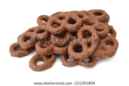Stack of chocolate covered pretzels  - stock photo