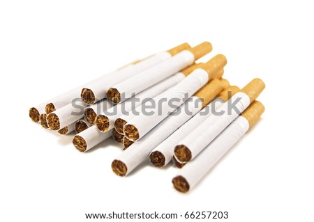 stack of cigarettes isolated on white - stock photo