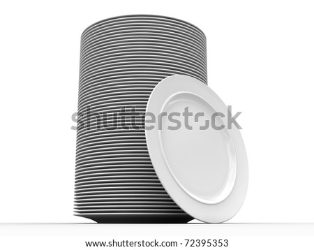 Stack of clean plates. Isolated on white with shadows. - stock photo