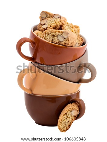 Stack of Coffee Cups whit Cantuccini isolated on white - stock photo