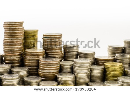 Stack of coin isolate on white background - stock photo