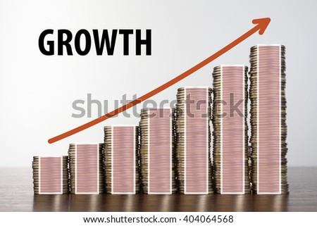 Stack of coins and graph up