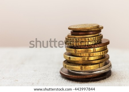 stack of coins. close-up - stock photo