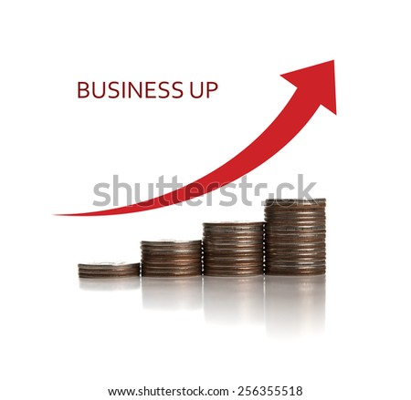 stack of coins in a row and chart on a white background