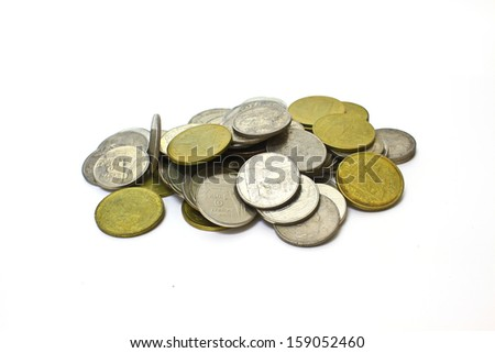 stack of coins isolated on a white background