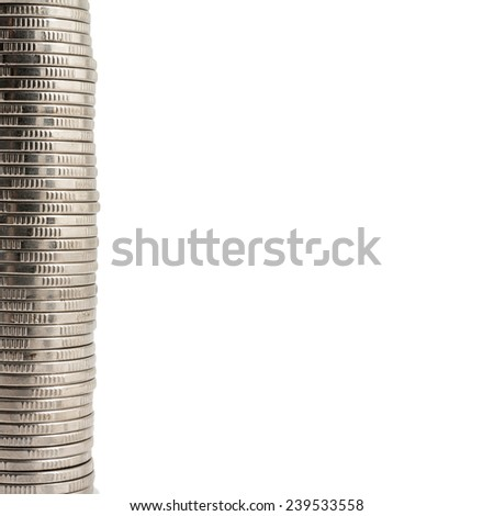 Stack of coins isolated on a white background - stock photo