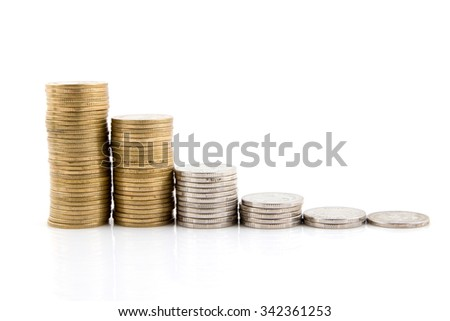 Stack of coins isolated on a white background.