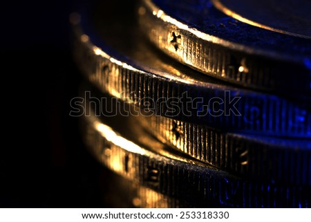 Stack of coins, macro view - stock photo
