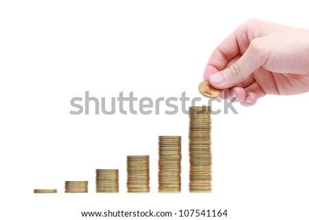 Stack of coins on a white background - stock photo