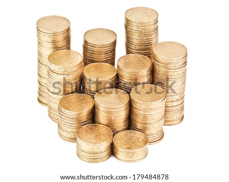 stack of coins on white
