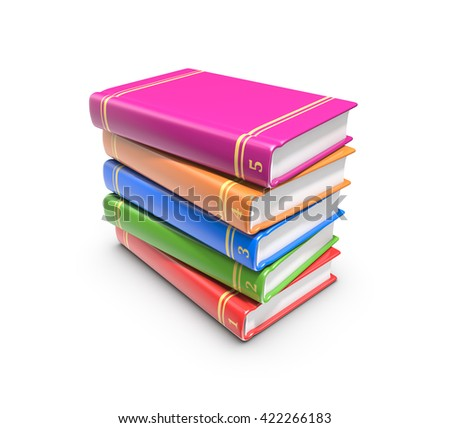 Stack of color books on white background, 3d rendering.