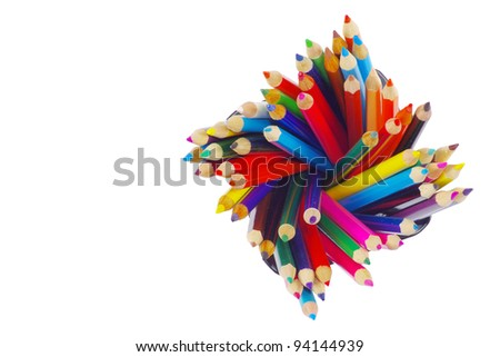 stack of colored pencils on white background - stock photo