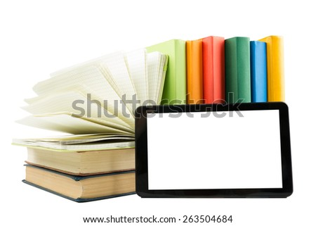 Stack of colorful books and electronic book reader isolated on white background. Electronic library concept. Back to school. Copy space - stock photo