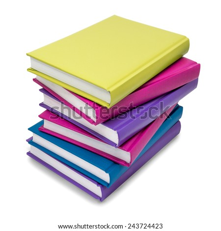 Stack of colorful books isolated on white background