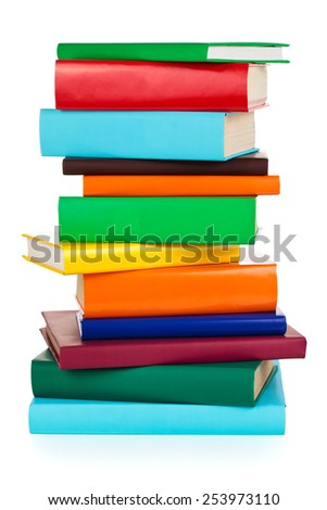 Stack of colorful books. Isolated on white background. - stock photo