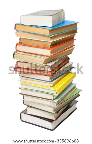 Stack of colorful books isolated on white background. Back to school. Copy space for text
