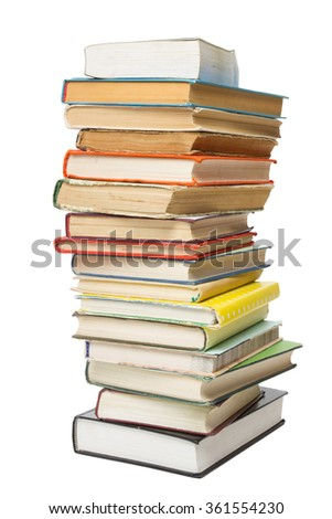 Stack of colorful books isolated on white background. Back to school. Copy space for text - stock photo