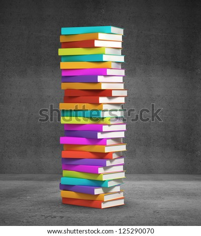 stack of colorful books on black background - stock photo