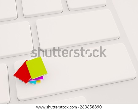 stack of colorful books on keyboard. 3d illustration - stock photo