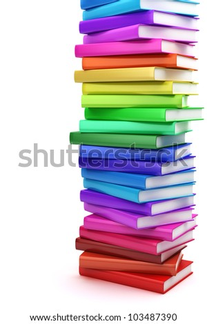 Stack of colorful books on white background, side view - stock photo