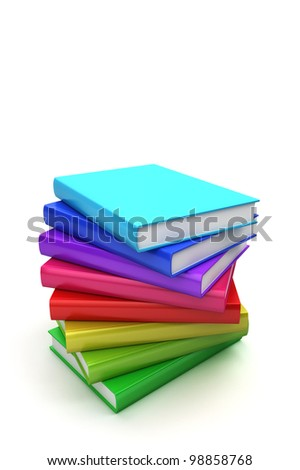 Stack of colorful books on white background, twist view