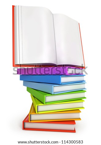 Stack of colorful books with open book on the top. Isolated on white background. 3d render