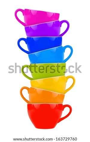 stack of colorful coffee mugs