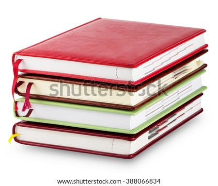 Stack of colorful diary with bookmarks isolated on white background