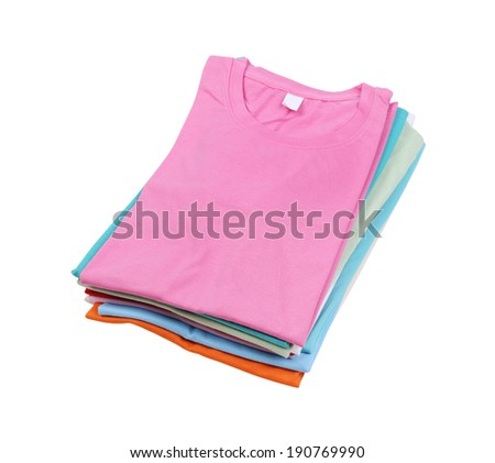 stack of colorful folded t-shirt isolated on white background (with clipping path) - stock photo